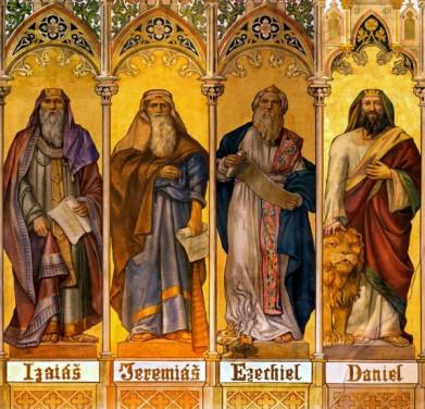 1080-TRNAVA-SLOVAKIA-The-neo-gothic-fresco-of-big-prophets-Isaiah-Jeremiah-Ezekiel-Daniel-by-Leopold-Bruckner-in-Saint-Nicholas-church-600x577