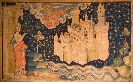 La_nouvelle_Jérusalem-John of Patmos watches the descent of the New Jerusalem from God in a 14th century tapestry. (1)