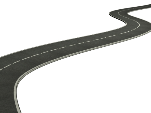 Curved asphalt road - 3d render