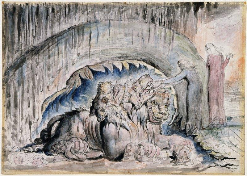 Illustrations_to_Dante's_Divine_Comedy_object_13_Butlin_812-13_Second_Version_of_Cerberus