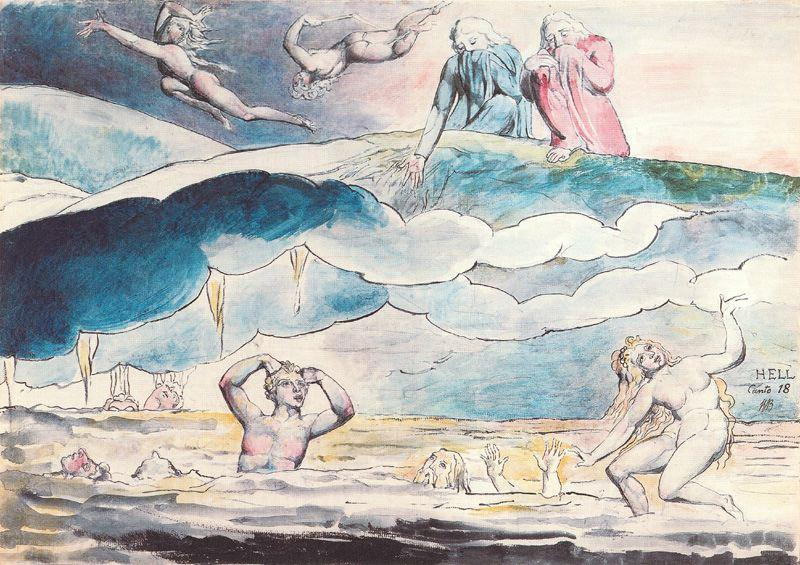 William-Blake-Dante-y-Virgilio-observan-la-fosa-de-los-Aduladores