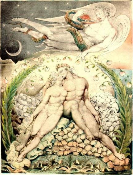 Blake,_William_(English,_1757–1827),_'Satan_Watching_the_Caresses_of_Adam_and_Eve'_(Illustration_to_'Paradise_Lost'),_1808,_pen;_watercolor_on_paper,_50.5_x_38_cm,_Museum_of_Fine_Arts,_Boston,_US-Satan Watching the Caresses of Adam and Eve