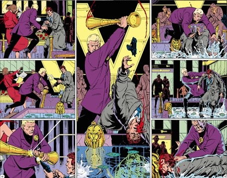 Watchmen_Fearful_Symmetry-The middle two pages of Watchmen #5, titled %22Fearful Symmetry%22. The whole of the issue's layout was intended to be symmetrical, culminating in this center spread, where the pages reflect one another