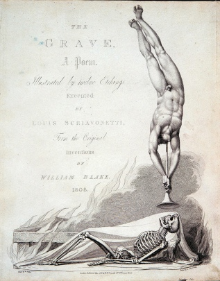 The frontispiece, designed by William Blake, of Robert Blair's poem The Grave, 1808